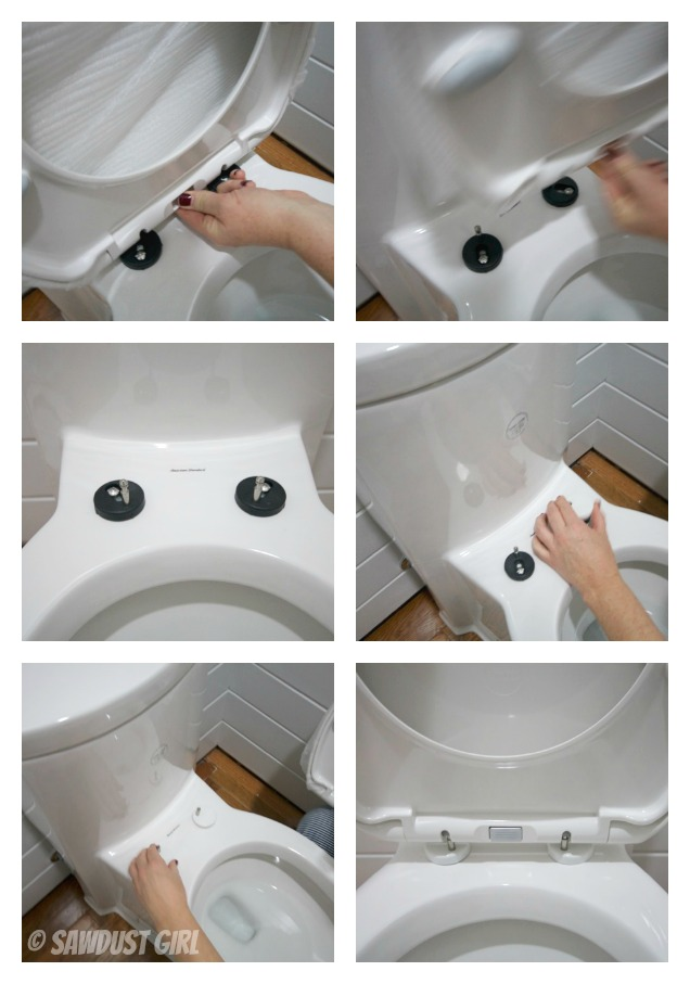 Installing a one piece, skirted toilet.