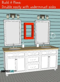 Double Vanity with Center Drawers - Free Plans - Sawdust Girl
