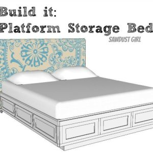 Cal King platform storage bed plans from Sawdust Girl.
