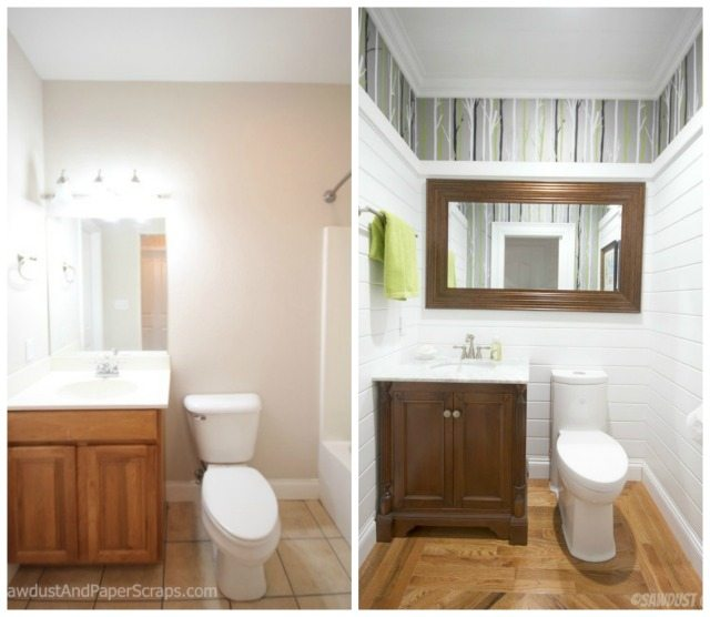 Powder Room before and after from SawdustGirl.com.