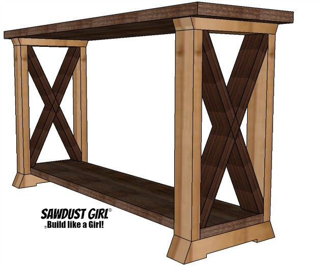 X leg console table - free and easy project plans from https://sawdustgirl.com.