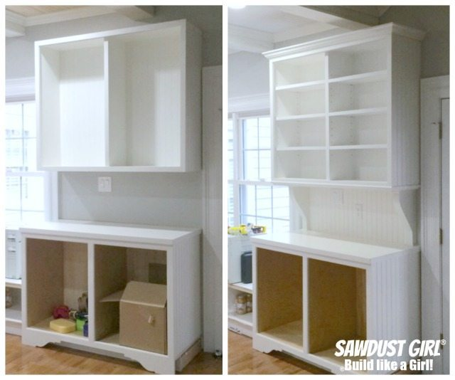 how to install crown moulding on cabinets and built ins sawdust girl. Black Bedroom Furniture Sets. Home Design Ideas