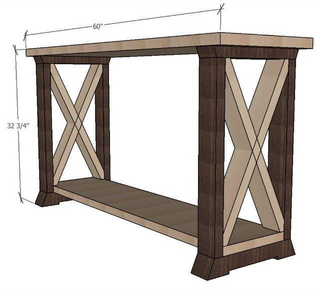 Box leg console table sawdust girl