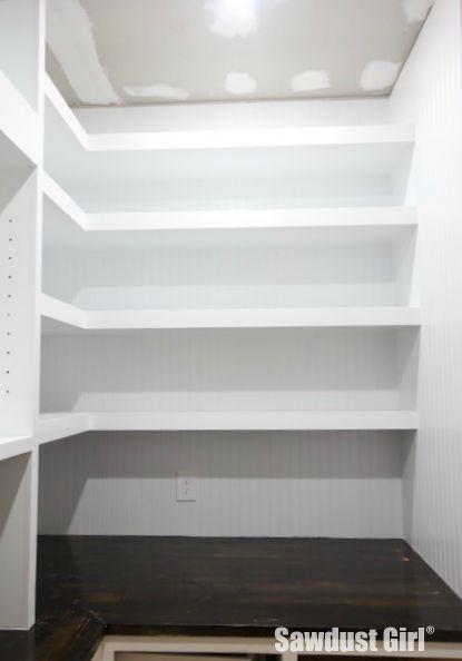 Corner Floating Shelves in Pantry