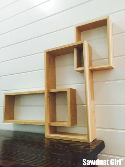 Three tiered display shelf sawdust girl