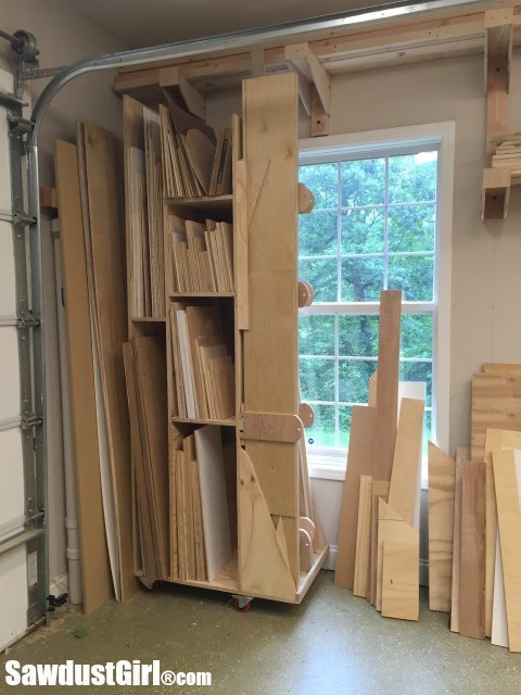 Bathroom Baseboard Ideas Rolling Lumber Cart For Vertical Wood Storage - Sawdust Girl®