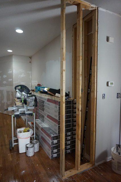Framing a wall extension.