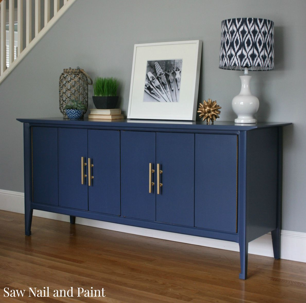 Buffet Sideboard Blue Indigo Blue Mid Century Buffet Saw Nail And Paint