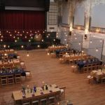 Cafe Lights Frame this Long Banquet Layout