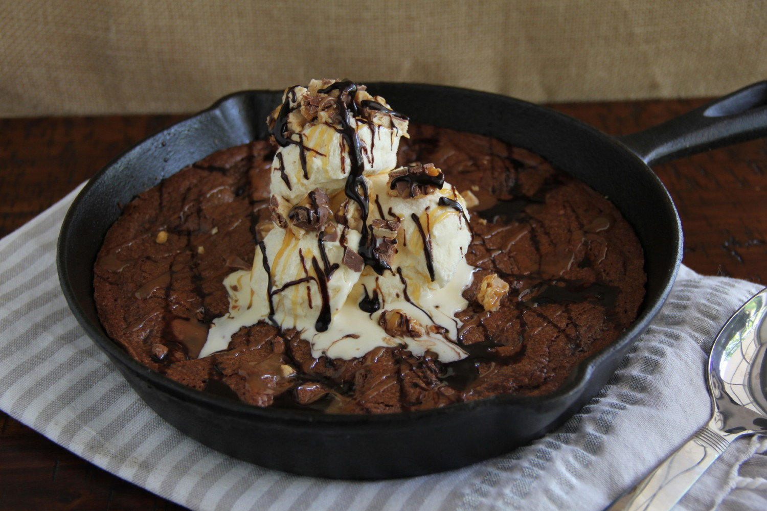PB Snickers Skillet Brownie | Say Grace