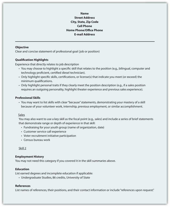 resume key skills section