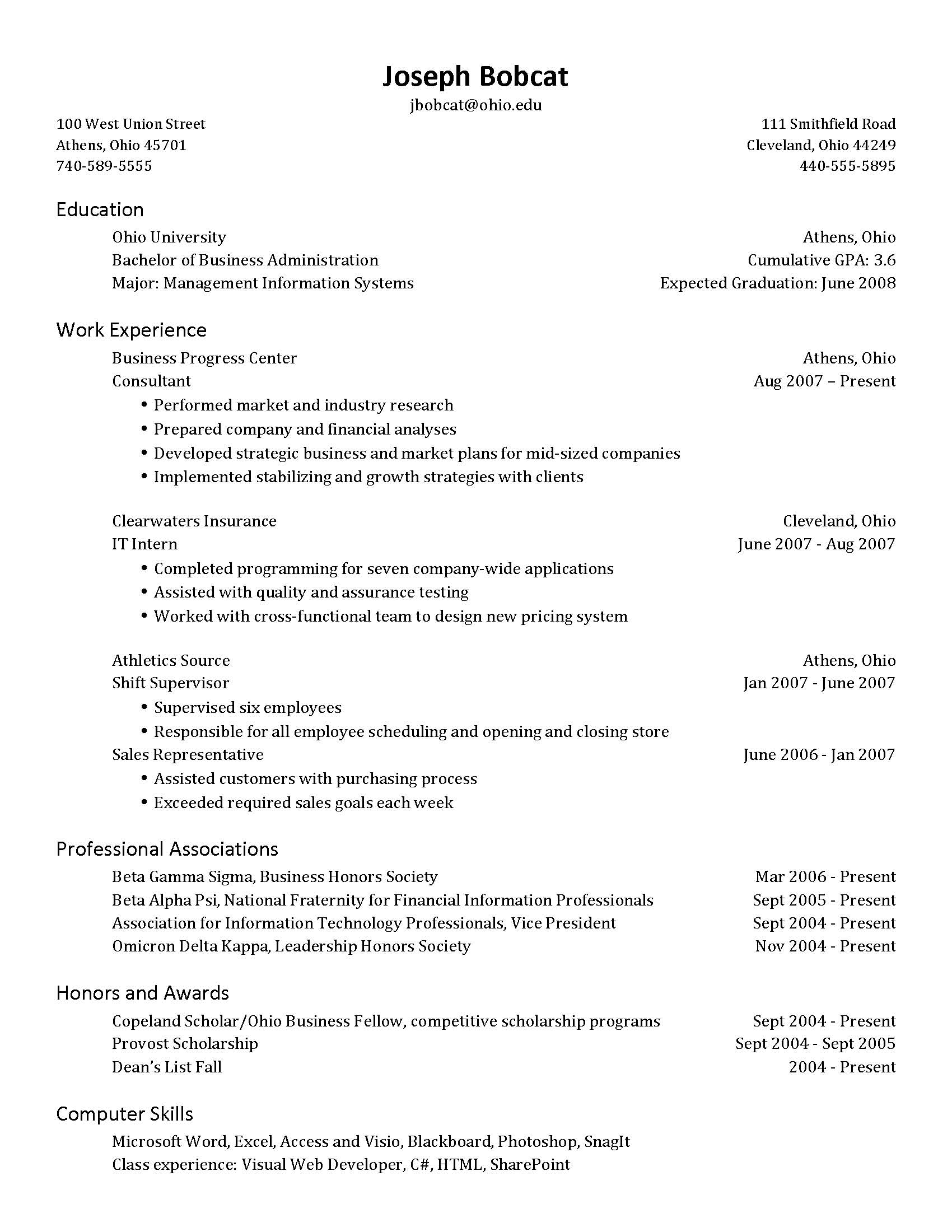 resume address on one line