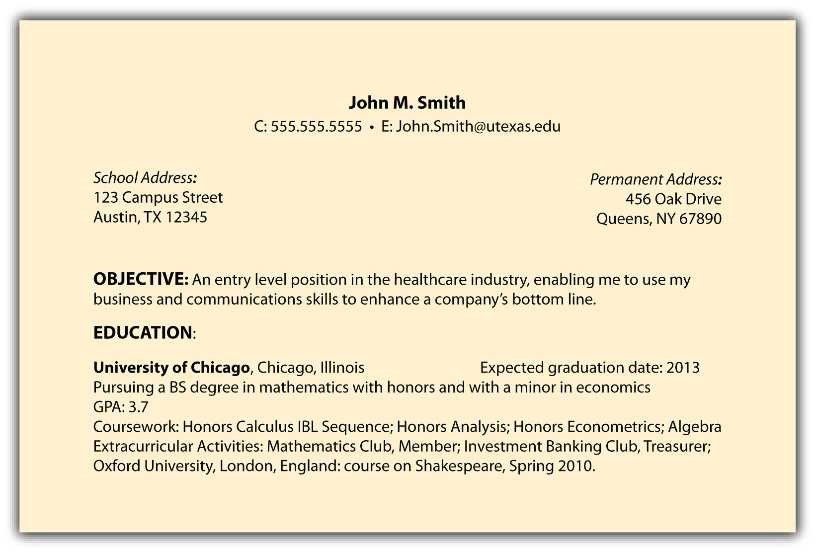 best example of resume objectives