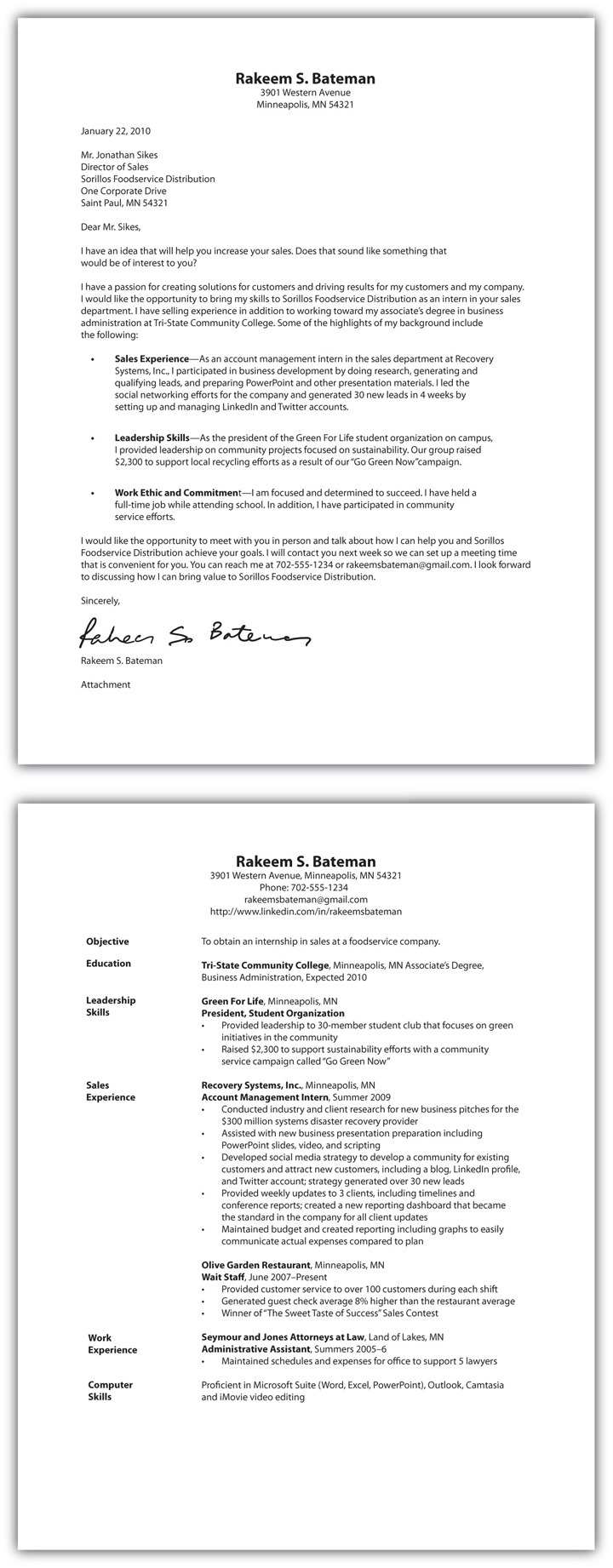 cover letter resume one document