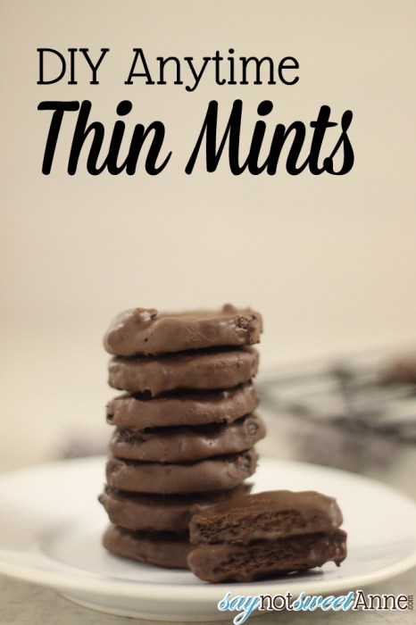 Easy DIY Thin Mints - 4 ingredients and amazing results! | Saynotsweetanne.com | #cookies #girlscout #thinmint #mint #chocolate