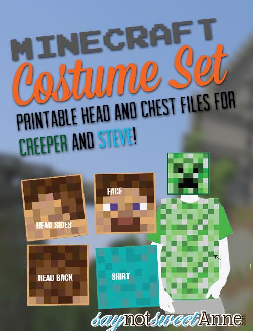 Minecraft Printable Costume Set - Sweet Anne Designs