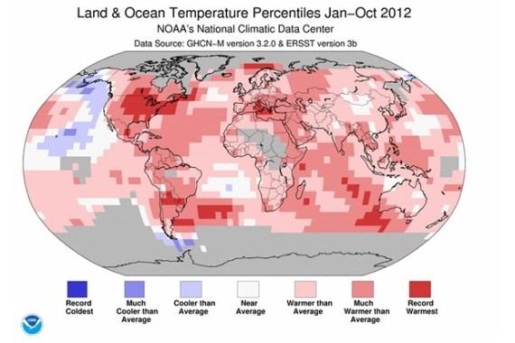 Temperature percentiles October 2012 (Credit: NOAA)