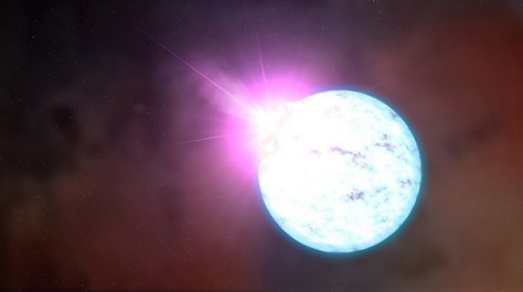 Artist's impression of an outburst on an ultra-magnetic neutron star (Credit: NASA's Goddard Space Flight Center)