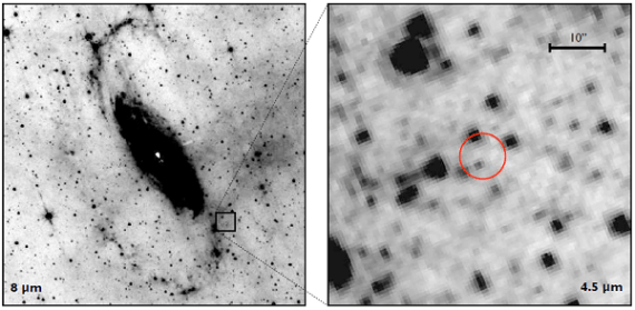 Spitzer-IRAC imaging of Circinus ULX5. Left image shows wide-field IRAC 8 μm (channel 4) image of Circinus with the red circle showing the NuSTAR position of ULX5 (Credit: D. J. WALTON et al.)