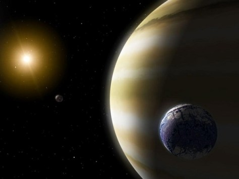 Many exoplanets may have moons orbiting them.  (Credit: NASA/JPL-Caltech)