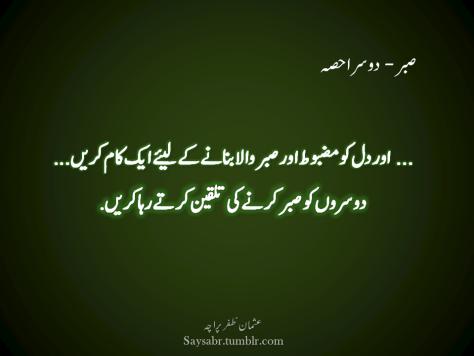 Sabr – Doosra hissa … Aur dil ko mazboot aur sabr wala bananay kay liye aik kaam karein…  Doosron ko sabr karnay ki talqeen kartay raha karein. (Usman Zafar Paracha – Urdu Quotations)
