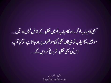 Sabhi kaamyab log aur kaamyab qomein taqleed kay qabil nahin hotein… Sochein, kaamyab to shaytaan bhi kayi moq'on par ho jata hai, to kya aap us ki bhi taqleed shuru kar dein gay…  (Usman Zafar Paracha – Urdu quotations)