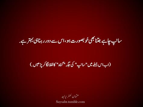 """Saanp chahay jitna bhi khoobsurat ho, us say door rehna hi behtar hai. (Ab is jumlay mein """"saanp"""" ki jagah """"gunah"""" ka lafaz laga kar parhain.  (Usman Zafar Paracha – Urdu Quote)"""