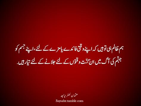 Hum zaalim hi to hain keh apnay waqti faaiday ya mazay kay liye, apnay jism ko jahannum ki aag mein un-ginnat waqton kay liye jalanay kay liye tyar hain. (Usman Zafar Paracha – Urdu Quote)