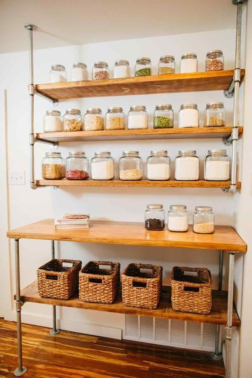 Pantry Shelves 45 Diy Pantry Shelves Built With Pipe Fittings Simplified