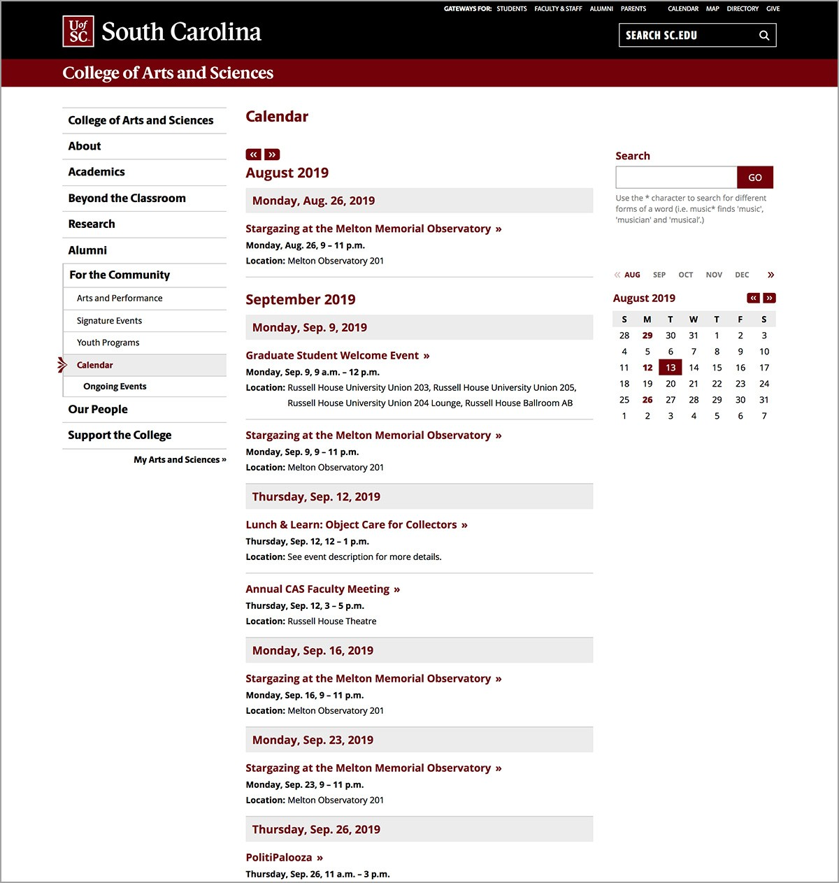 Calendar Page - Communications and Public Affairs University of