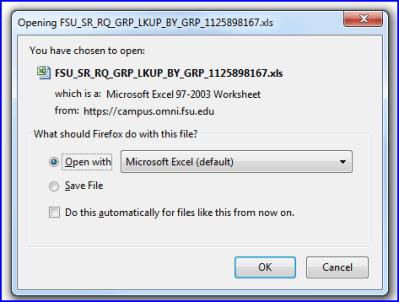Confirm Open in Excel screen shot