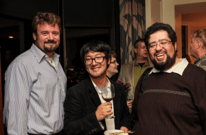 ADM David G. Nottage III (USS Golden Gate, left), CDR Jon Sung (USS Loma Prieta, center), and CAPT Michael D. Garcia (USS Gygax, right) at the ArchAngel party at the Westin St. Francis Hotel in San Francisco, California. (Photo: Misti Layne / mistilayne.com)