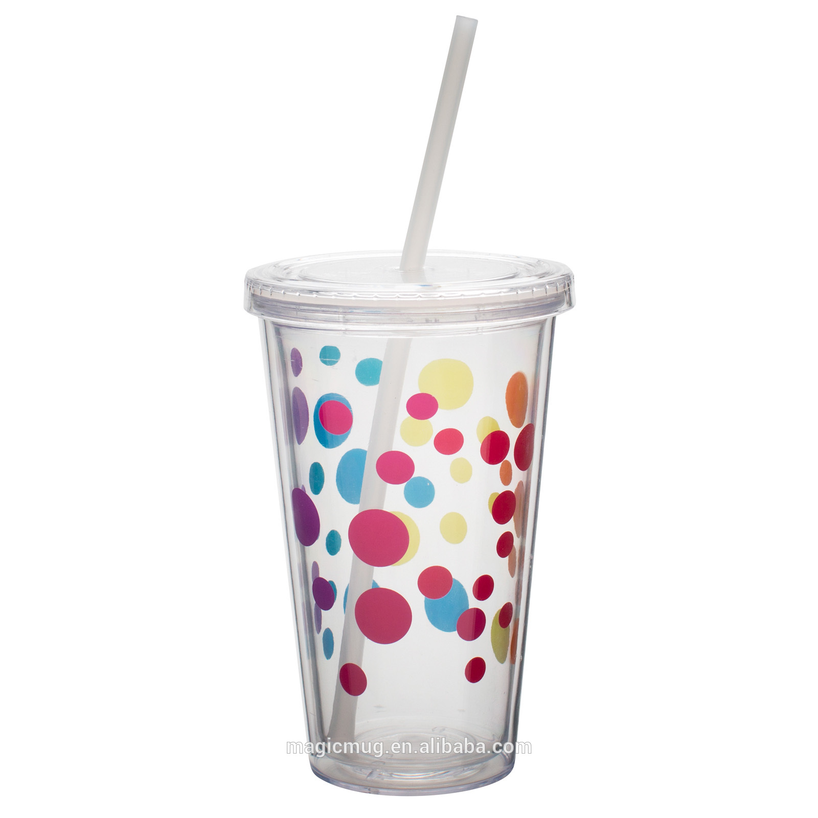Cute Coffee Mugs With Lids Insulated Plastic Drink Cup Glass With Curly Crazy Straw