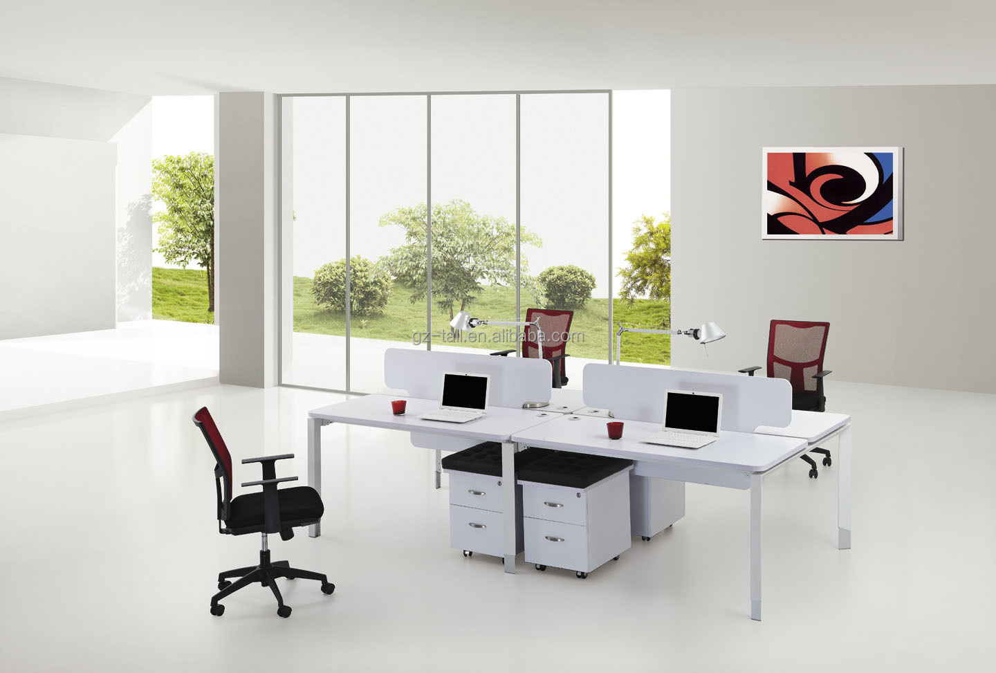 Home Office Space For Two Hot Sale Modern Modular Office Workstation 2 Person Office