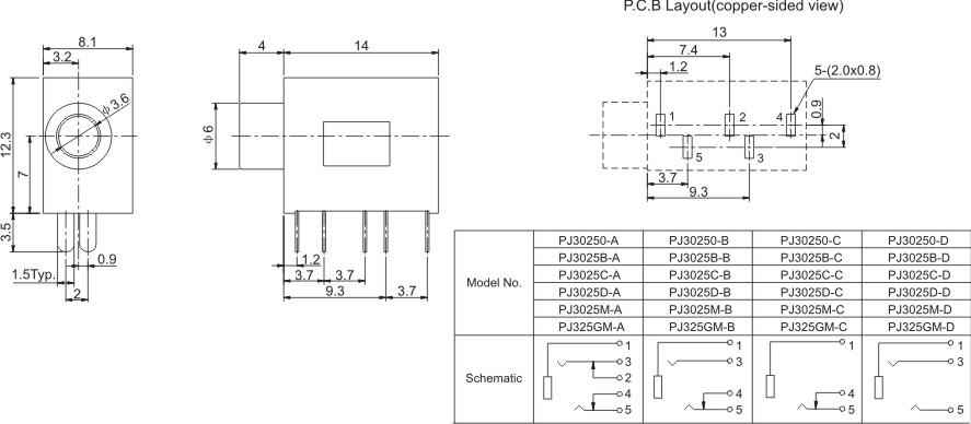 Pcb Mount 4 Pin Terminals Female 35mm Audio Jack Socket Phone Jack