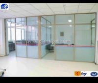 Movable Blinds Inside Double Glass Wall Office Partition