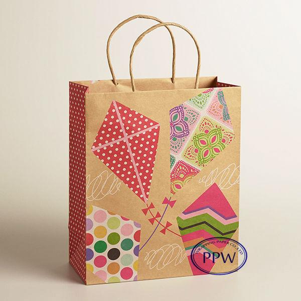 Brown Windmill Design Paper Bag Gift Paper Bag Manufaturer