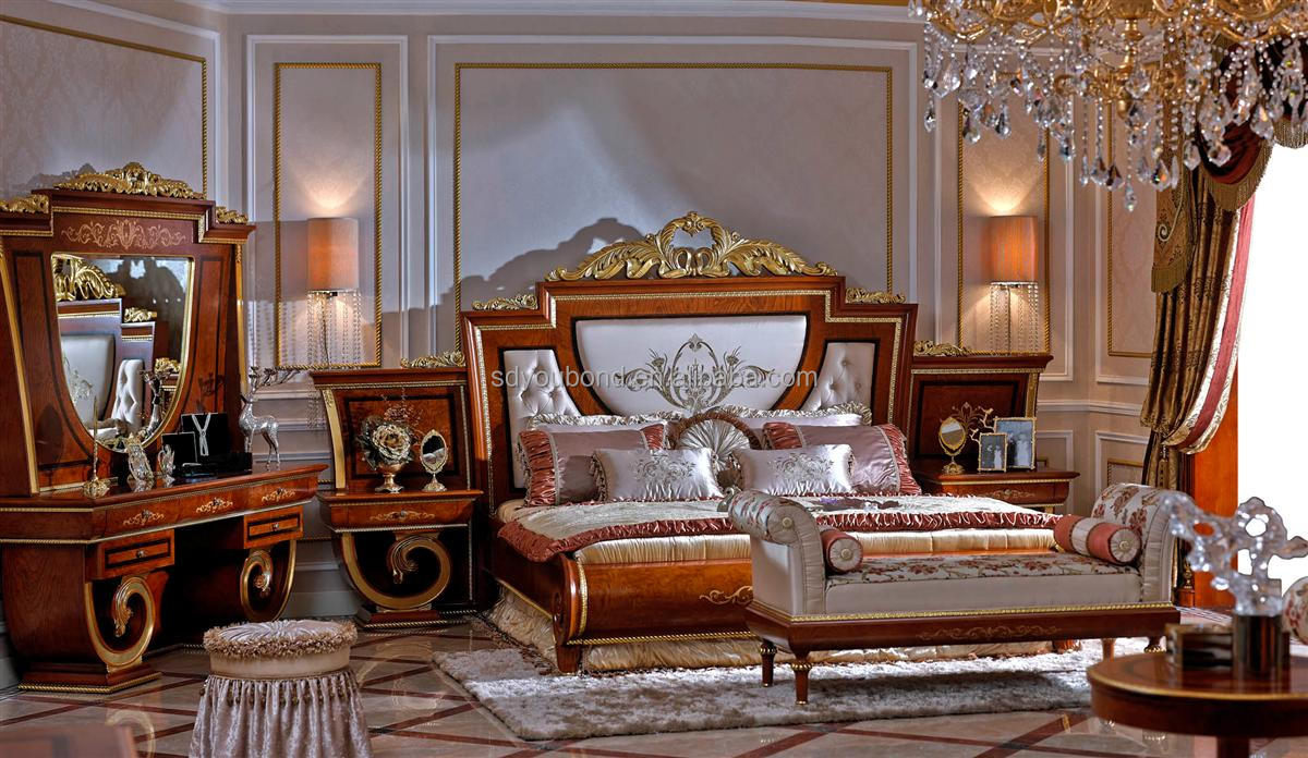 0038 european classic solid wood bedroom furniture high quality luxury royal bed set