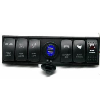 6 Gang Led Waterproof Rocker Switch Panel With Voltmeter Double Usb