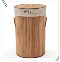 Clothes Handmade Bamboo Laundry Hamper Basket With Wheels ...