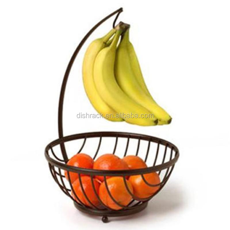 Chrome Metal Fruit Basket With Banana Holder Buy Fruit