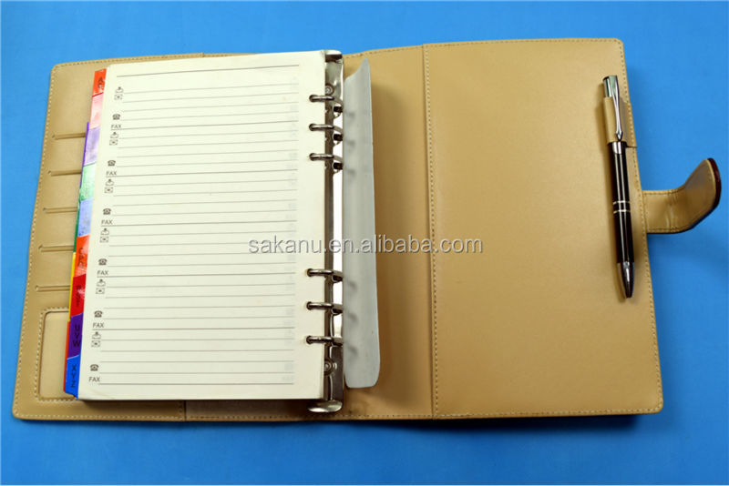 Custom A5 Loose Leaf Notebook,Metal 6 Rings Binder Notebook Leather - notebook binder