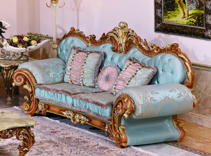 The Rue de Nesle Elegant French-Style Upholstered Sofa with Wood - barock mobel versailles sofa