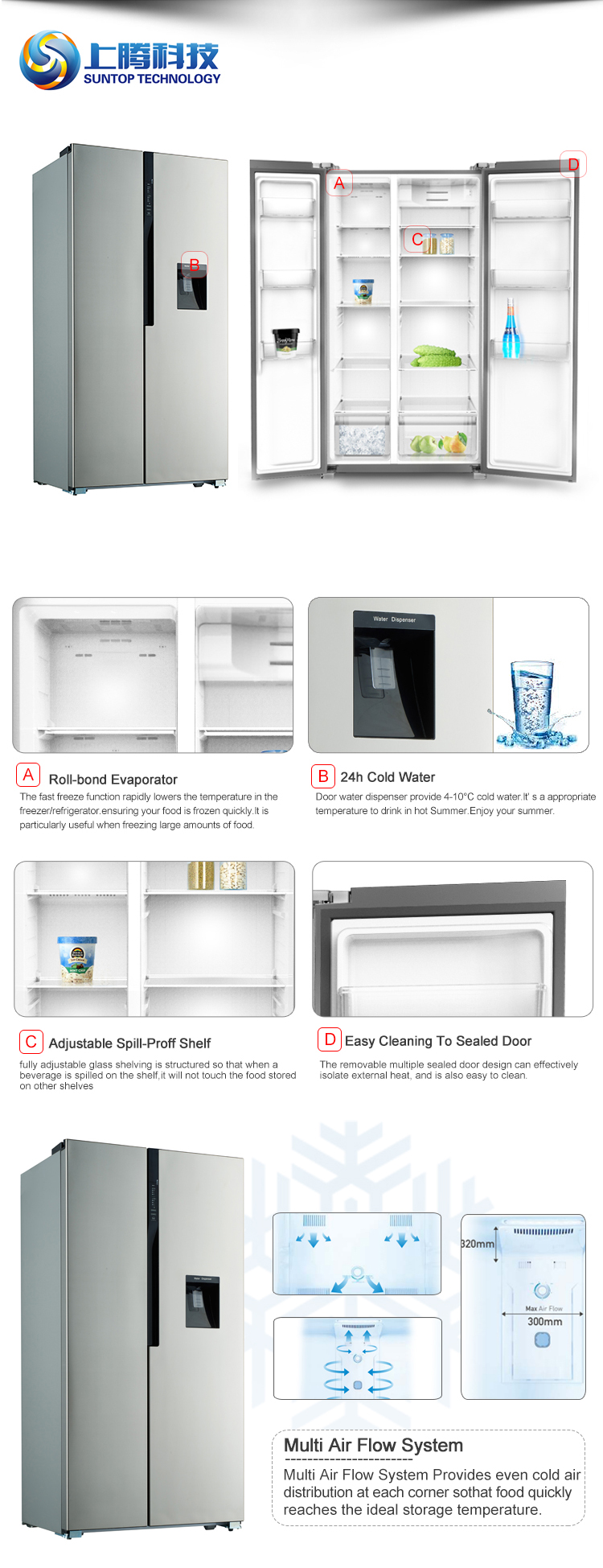 No Frost Multifunction 24h Cold Water No Frost Fast Freeze Water Dispenser Double Door Upright Freezer Commercial Fridge Refrigerator Buy Fridge
