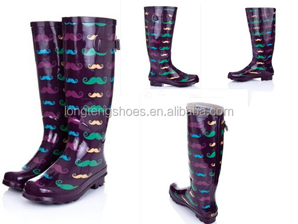 Western Ladies Uk Western Rubber Rain Boots With Flower