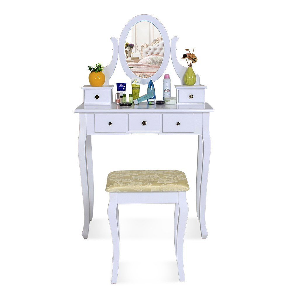Cosmetic Table White Dressing Table Makeup Desk With 5 Drawers Stool Oval Mirror Bedroom Vanity Cosmetic Dressing Table Uk Buy White Dressing Table Makeup Desk