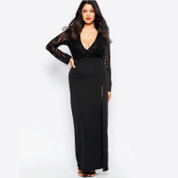 Black Lace Sleeve Long Lace Evening Dress For Fat Women ...