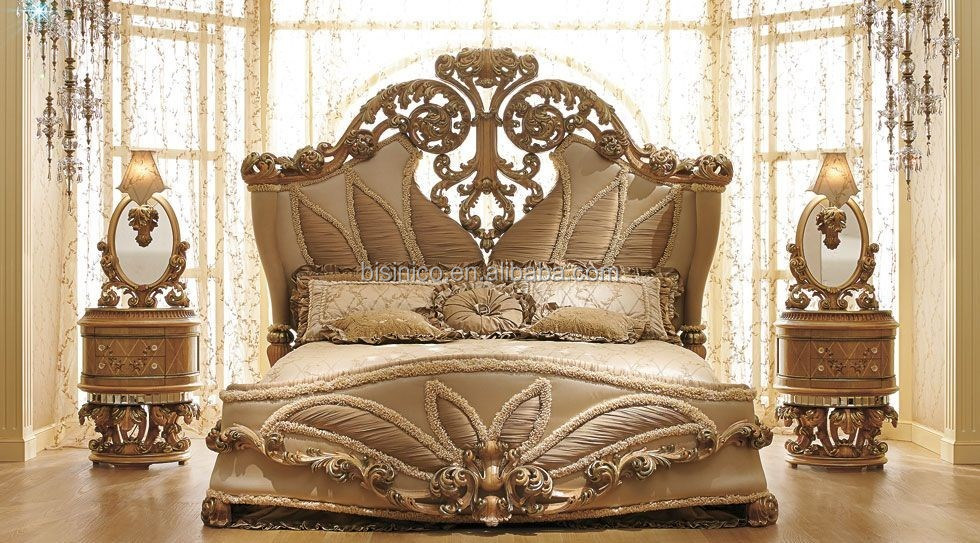 Saray Meuble European Royal Style Wooden Hand Carved Bedroom Sets