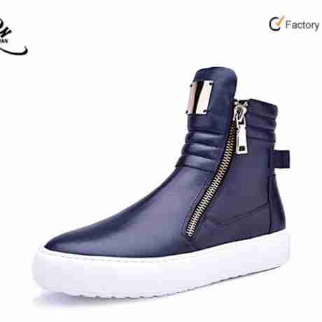 Source Fashion trend cow leather zipper mens sneaker shoes China wholesales