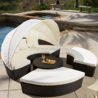 2015 Antique Canopy Day Bed Rattan Round Outdoor Lounge ...